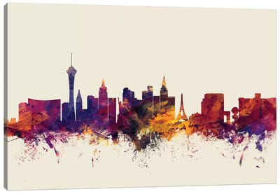 Skyline Series: Las Vegas, Nevada, USA On Beige Canvas Print #MTO306