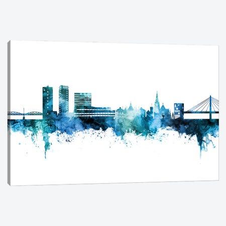 Umea Sweden Skyline Blue Teal Canvas Print #MTO3074} by Michael Tompsett Canvas Art Print