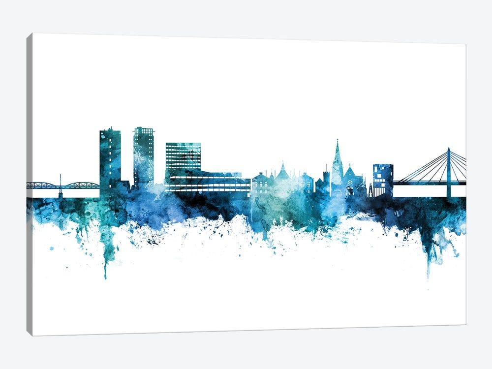 Umea Sweden Skyline Blue Teal by Michael Tompsett 1-piece Canvas Art