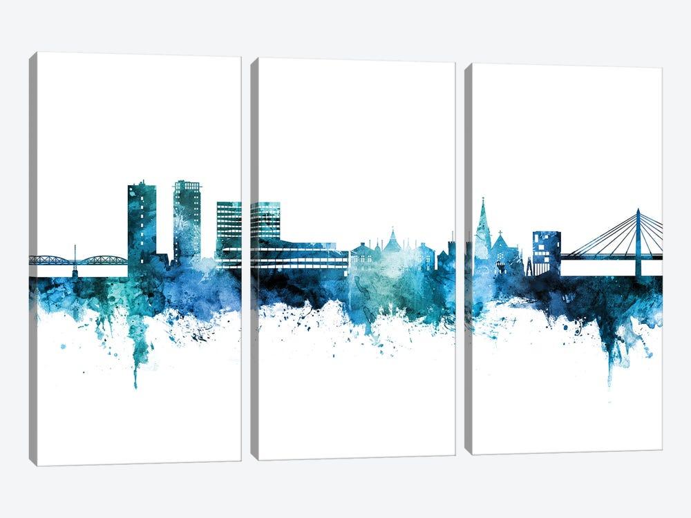 Umea Sweden Skyline Blue Teal by Michael Tompsett 3-piece Canvas Wall Art