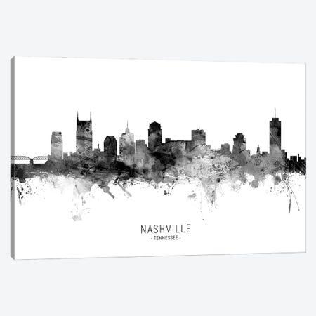 Nashville Tennessee Skyline Name Bw Canvas Print #MTO3077} by Michael Tompsett Art Print