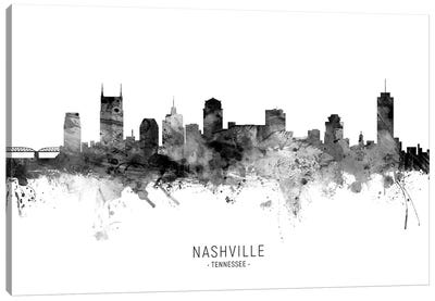 Nashville Tennessee Skyline Name Bw Canvas Art Print