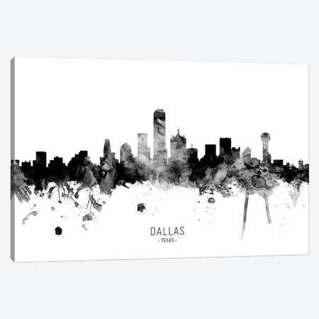 Dallas Texas Skyline Name Bw Canvas Print #MTO3078} by Michael Tompsett Canvas Wall Art