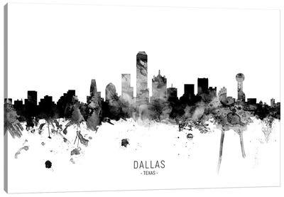 Dallas Texas Skyline Name Bw Canvas Art Print