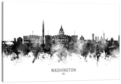 Washington Dc Skyline Name Bw Canvas Art Print