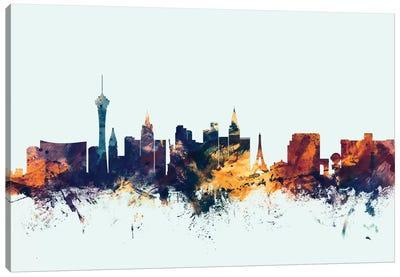Skyline Series: Las Vegas, Nevada, USA On Blue Canvas Print #MTO307
