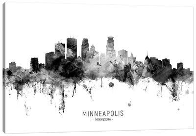 Minneapolis Minnesota Skyline Name Bw Canvas Art Print