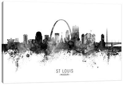 St Louis Missouri Skyline Name Bw Canvas Art Print