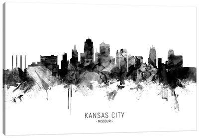 Kansas City Missouri Skyline Name Bw Canvas Art Print
