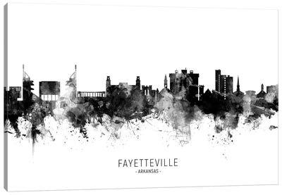 Fayetteville Arkansas Skyline Name Bw Canvas Art Print
