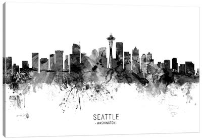 Seattle Washington Skyline Name Bw Canvas Art Print