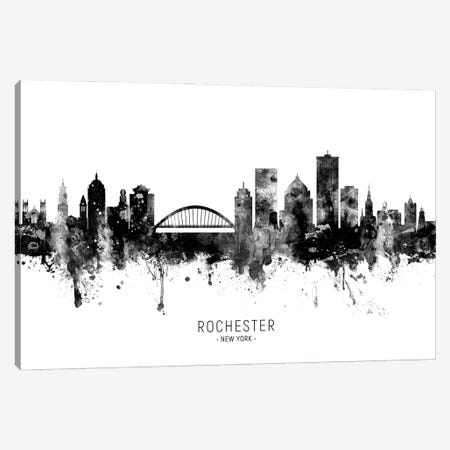 Rochester New York Skyline Name Bw Canvas Print #MTO3087} by Michael Tompsett Canvas Wall Art