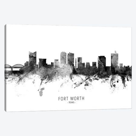 Fort Worth Texas Skyline Name Bw Canvas Print #MTO3088} by Michael Tompsett Art Print