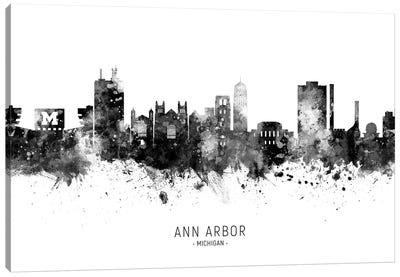 Ann Arbor Michigan Skyline Name Bw Canvas Art Print