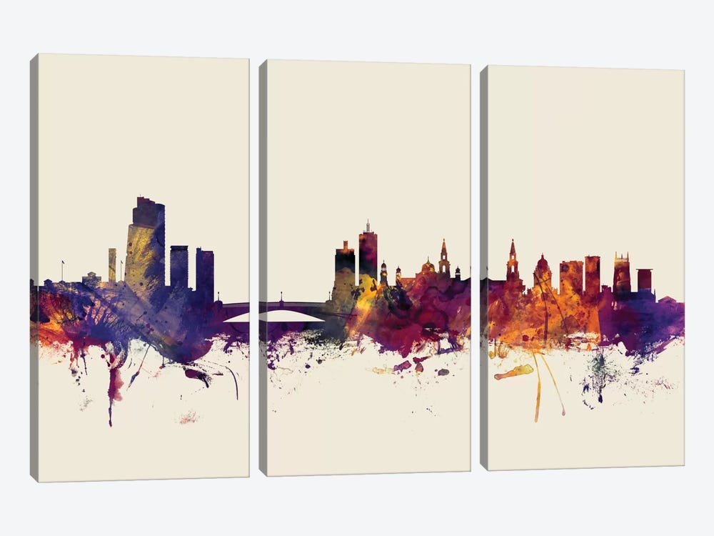 Skyline Series: Leeds, England, United Kingdom On Beige by Michael Tompsett 3-piece Canvas Print