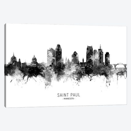 Saint Paul Minnesota Skyline Name Bw Canvas Print #MTO3090} by Michael Tompsett Canvas Wall Art