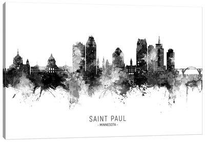 Saint Paul Minnesota Skyline Name Bw Canvas Art Print