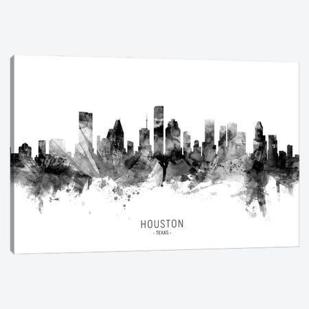 Houston Texas Skyline Name Bw Canvas Print #MTO3091} by Michael Tompsett Canvas Wall Art