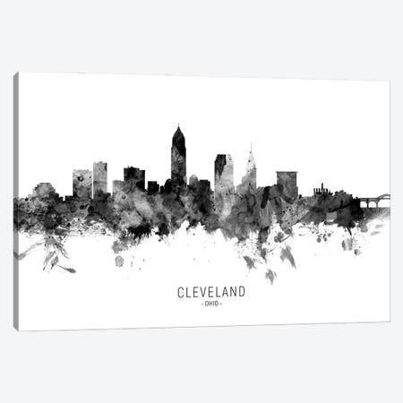 Cleveland Ohio Skyline Name Bw Canvas Print #MTO3092} by Michael Tompsett Canvas Artwork