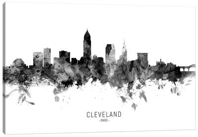 Cleveland Ohio Skyline Name Bw Canvas Art Print