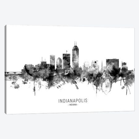 Indianapolis Indiana Skyline Name Bw Canvas Print #MTO3093} by Michael Tompsett Canvas Art