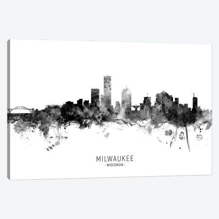 Milwaukee Wisconsin Skyline Name Bw Canvas Print #MTO3094} by Michael Tompsett Art Print
