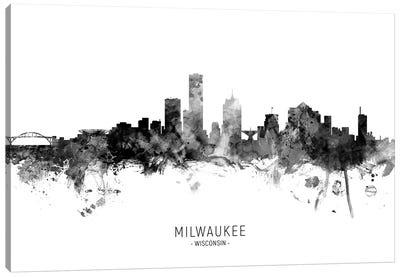 Milwaukee Wisconsin Skyline Name Bw Canvas Art Print