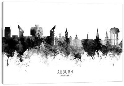 Auburn Alabama Skyline Name Bw Canvas Art Print