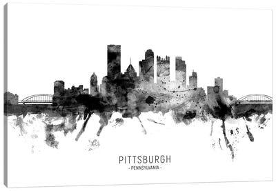 Pittsburgh Pennsylvania Skyline Name Bw Canvas Art Print