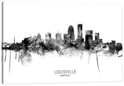 Louisville Kentucky Skyline Name Bw Canvas Art Print