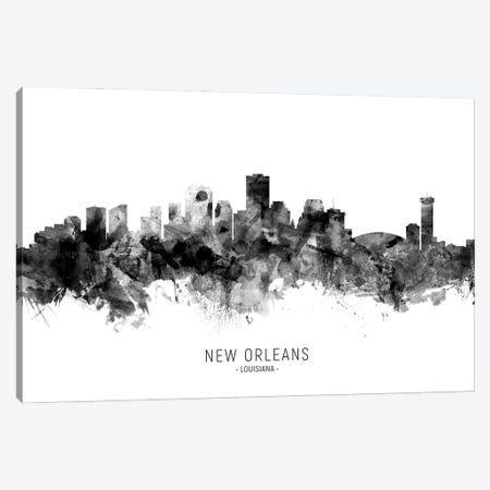New Orleans Louisiana Skyline Name Bw Canvas Print #MTO3099} by Michael Tompsett Canvas Wall Art