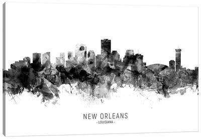 New Orleans Louisiana Skyline Name Bw Canvas Art Print
