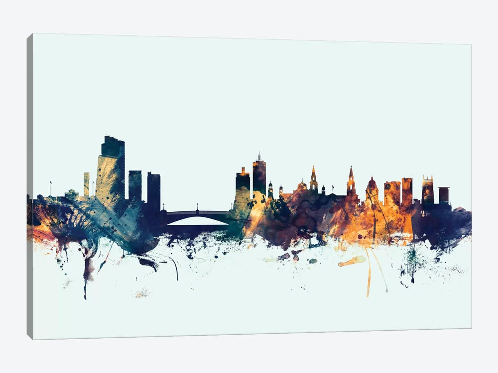 Leeds, England, United Kingdom On Blue by Michael Tompsett 1-piece Canvas Wall Art