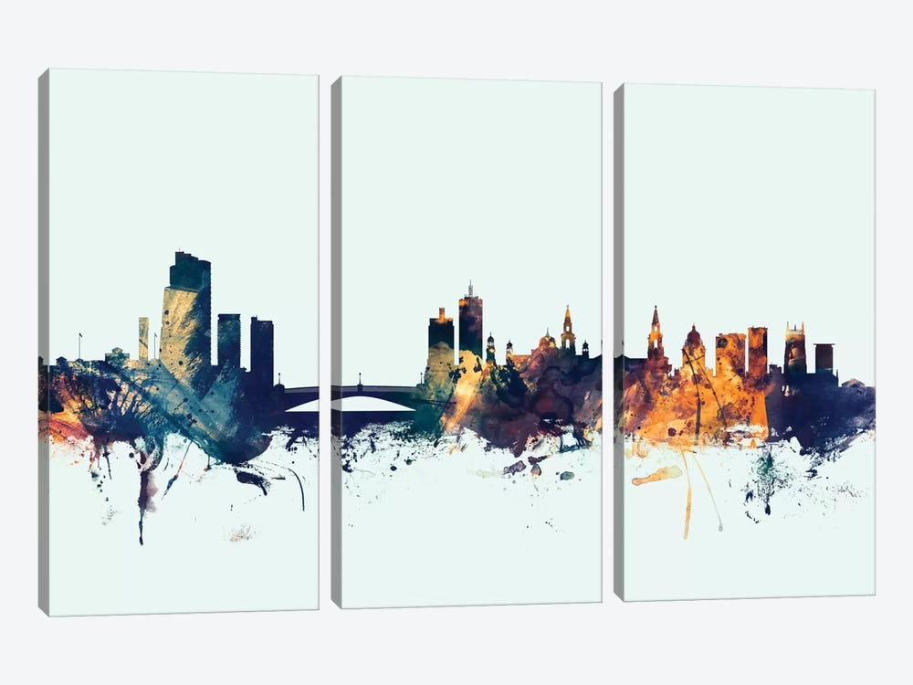 Leeds, England, United Kingdom On Blue by Michael Tompsett 3-piece Canvas Art