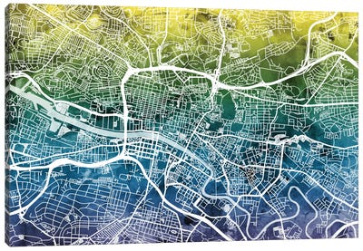 Color Gradient Urban Street Map Series: Glasgow, Scotland, United Kingdom Canvas Print #MTO30