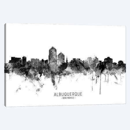 Albuquerque New Mexico Skyline Name Bw Canvas Print #MTO3100} by Michael Tompsett Canvas Artwork