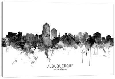 Albuquerque New Mexico Skyline Name Bw Canvas Art Print