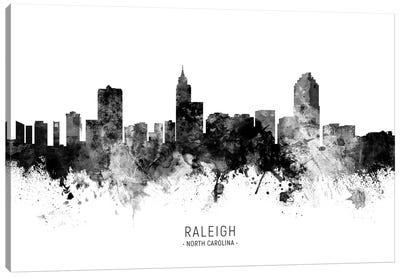 Raleigh North Carolina Skyline Name Bw Canvas Art Print