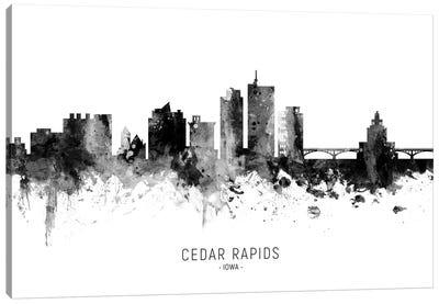 Cedar Rapids Iowa Skyline Name Bw Canvas Art Print