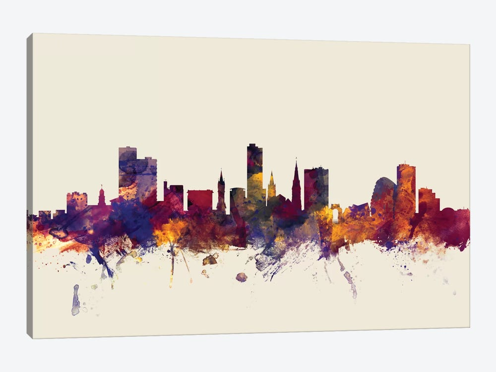 Skyline Series: Leicester, England, United Kingdom On Beige by Michael Tompsett 1-piece Canvas Artwork