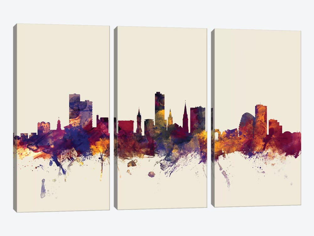 Skyline Series: Leicester, England, United Kingdom On Beige by Michael Tompsett 3-piece Canvas Wall Art