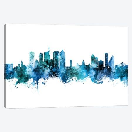 Durban South Africa Skyline Blue Teal Canvas Print #MTO3111} by Michael Tompsett Canvas Art Print