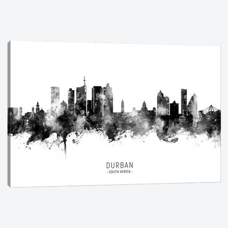 Durban South Africa Skyline Name Bw Canvas Print #MTO3113} by Michael Tompsett Art Print