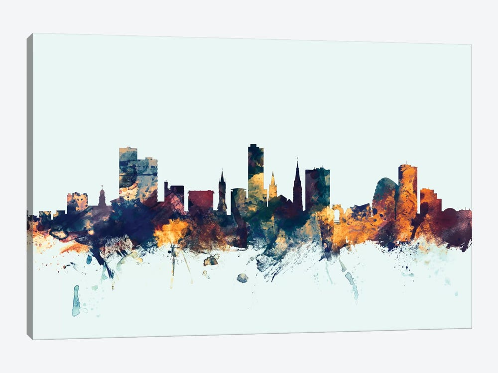 Skyline Series: Leicester, England, United Kingdom On Blue by Michael Tompsett 1-piece Canvas Art Print