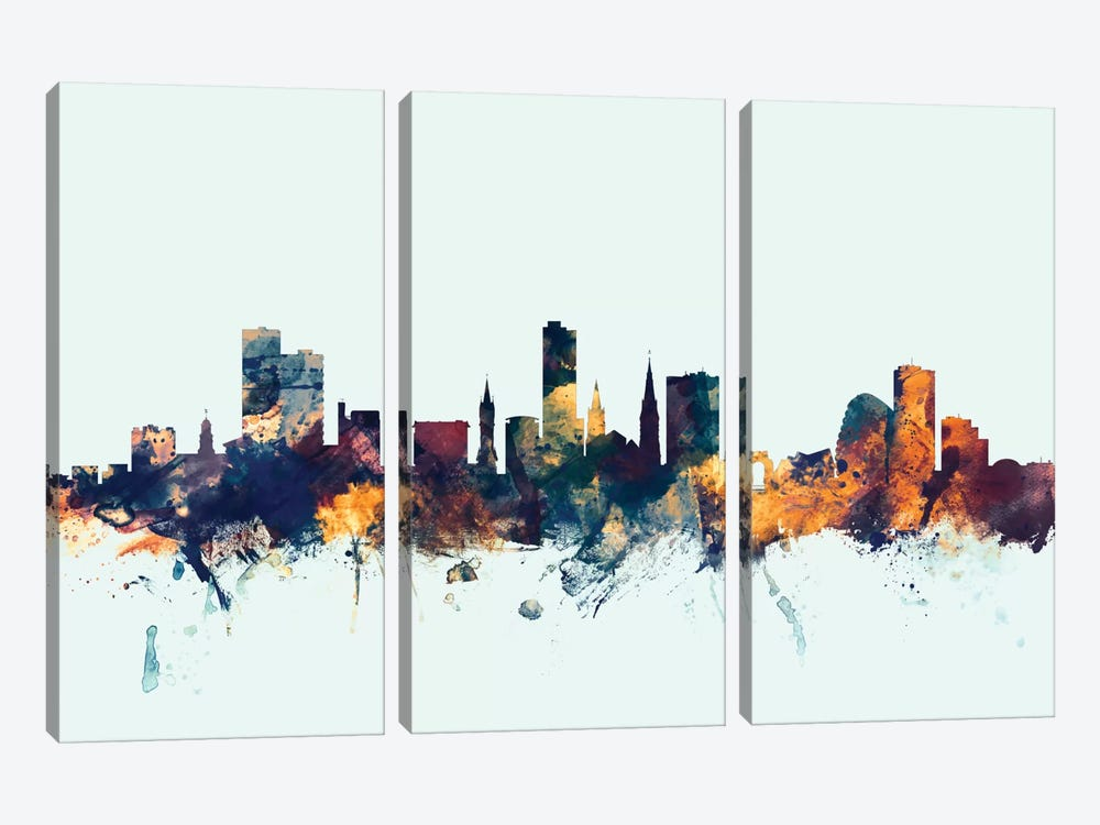 Skyline Series: Leicester, England, United Kingdom On Blue by Michael Tompsett 3-piece Art Print