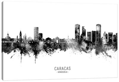 Caracas Venezuela Skyline Name Bw Canvas Art Print