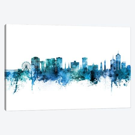 Virginia Beach Skyline Blue Teal Canvas Print #MTO3126} by Michael Tompsett Canvas Print