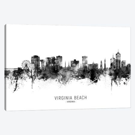 Virginia Beach Virginia Skyline Name Bw Canvas Print #MTO3128} by Michael Tompsett Canvas Wall Art