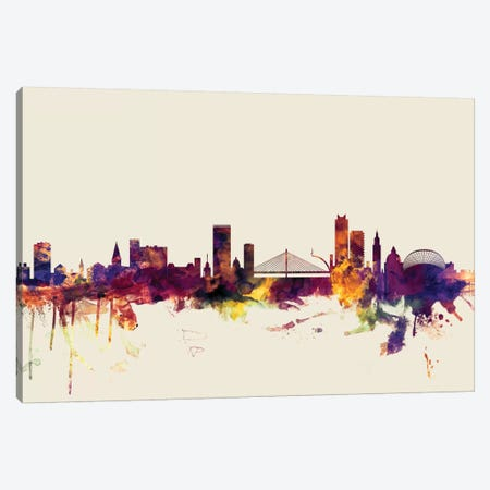Liege, Belgium On Beige Canvas Print #MTO312} by Michael Tompsett Canvas Print