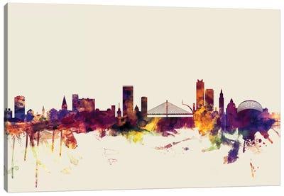 Skyline Series: Liege, Belgium On Beige Canvas Print #MTO312